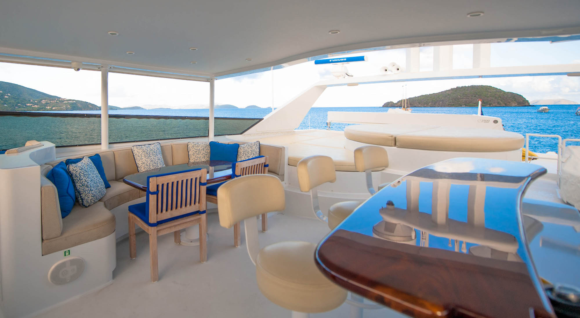 Lounge and bar area on yacht